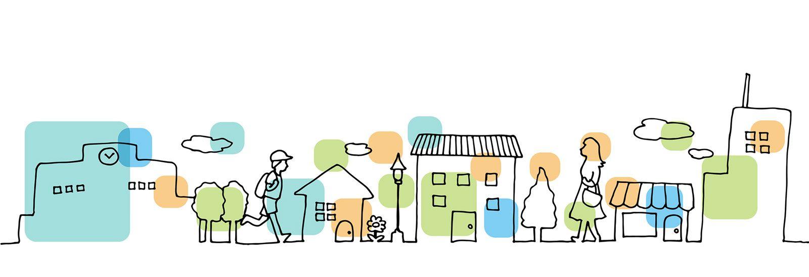 Line drawing of a neighbourhood street banner image