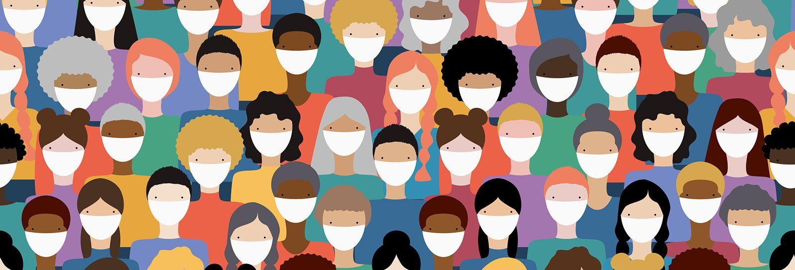 Large group of people wearing face masks banner image