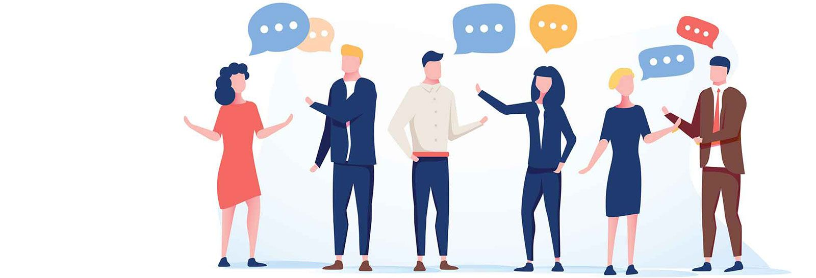 Six people having discussion banner image