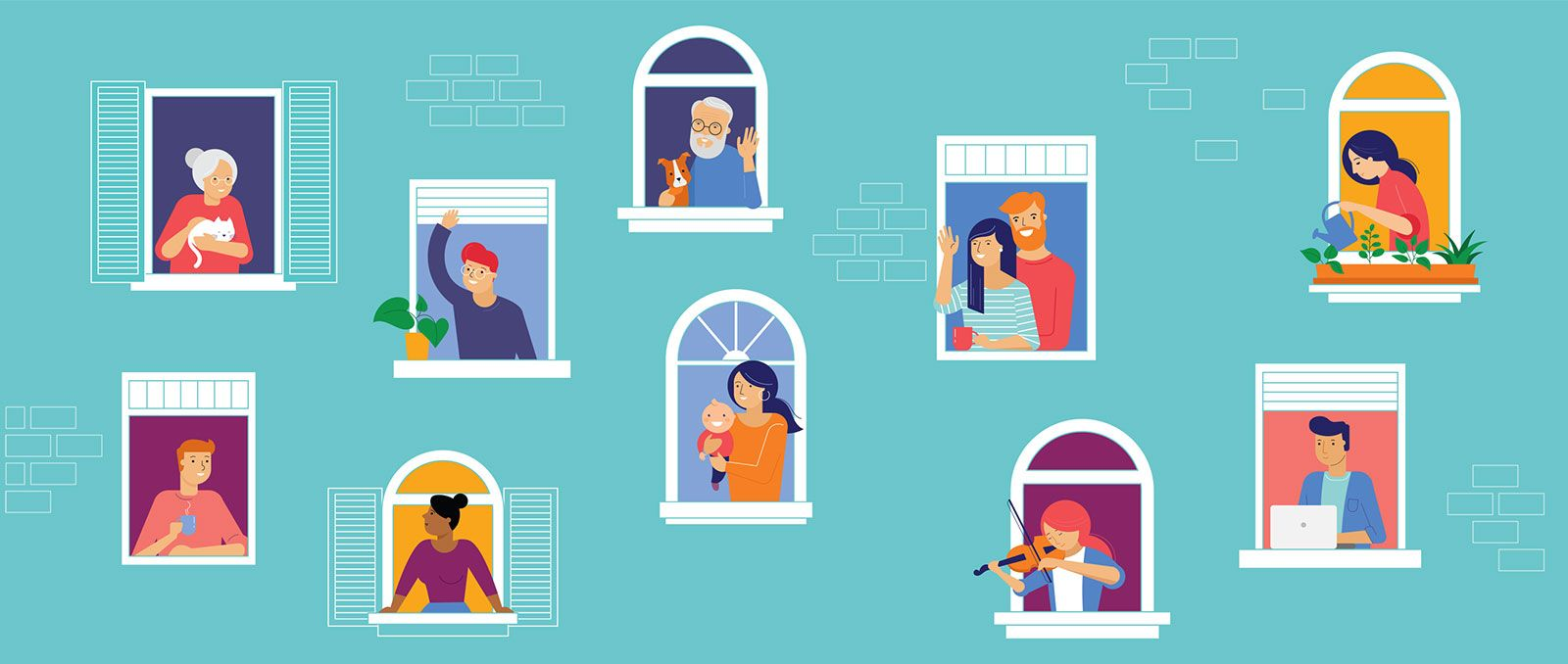 Neighbours greet each other from their windows banner image