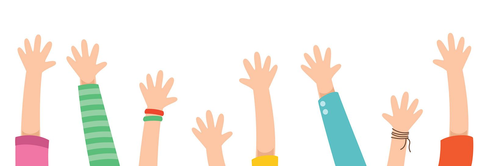 volunteers with hands in the air banner image