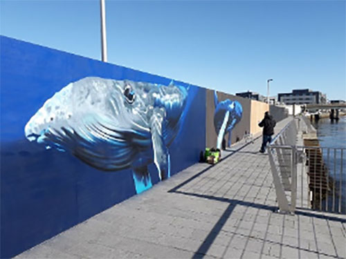 A whale mural at Dundee shore