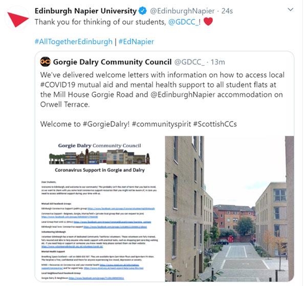 Tweet from Edinburgh Napier University. Credit: GDCC/Twitter
